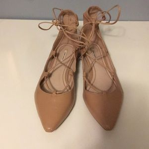 Zara Nude Lace Up Pointy Toe Flat